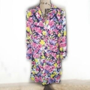 Charles Henry Bright Floral Navy Shirt Dress M